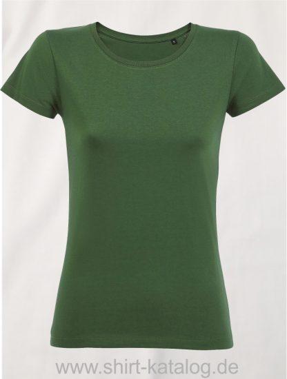 2077-Sols-Women-Short-Sleeved-T-Shirt-Milo-Bottle-Green