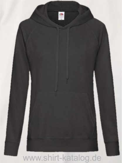 22011-Fruit-of-the-Loom-Lightweight Hooded Sweat Lady-Fit-Black