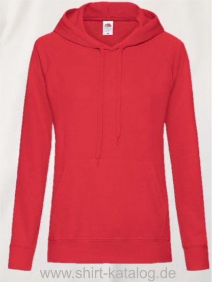 22011-Fruit-of-the-Loom-Lightweight Hooded Sweat Lady-Fit-Rot