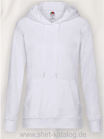 22011-Fruit-of-the-Loom-Lightweight Hooded Sweat Lady-Fit-White