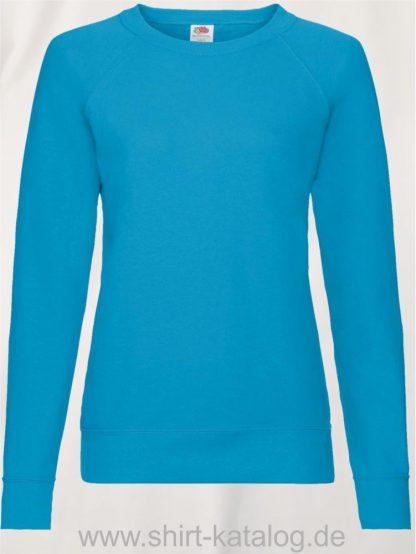 23328-Fruit-of-the-Loom-Lightweight-Raglan-Sweat-Ladies-Azure-Blue