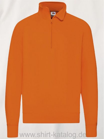 23339-Fruit-of-the-Loom-New-Lightweight-Zip-Neck-Sweat-Orange