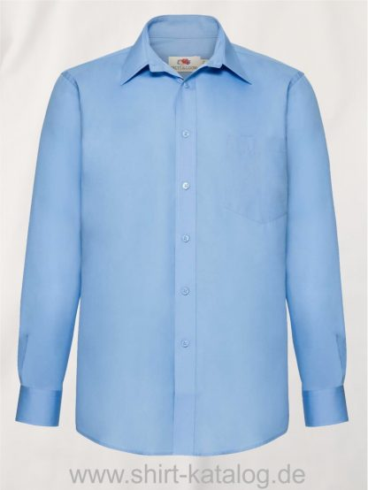 Men´s-Long -Sleeve-Poplin-Shirt-Mid-Blue