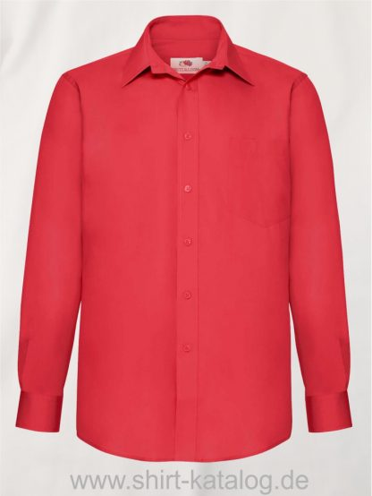 Men´s-Long -Sleeve-Poplin-Shirt-Red