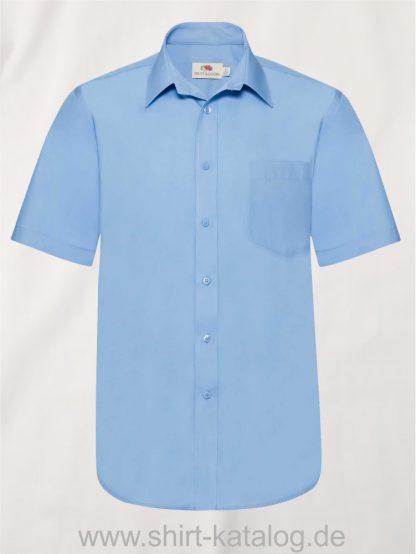 Men´s-Short-Sleeve-Poplin-Shirt-Mid-Blue