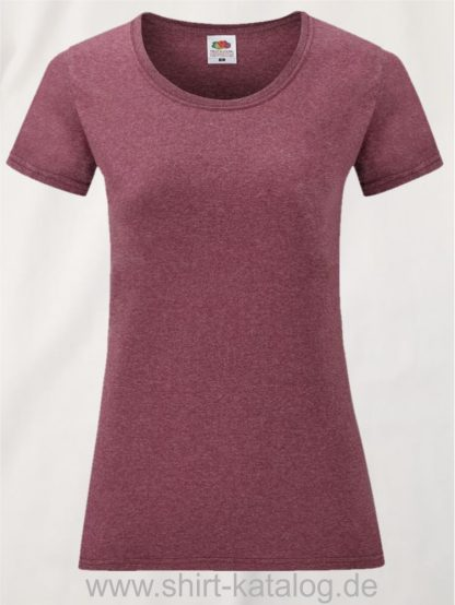 16142-Fruit-Of-The-Loom-Valueweight-V-Neck-T-Lady-Fit-Heather-Burgundy