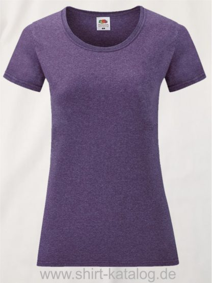 16142-Fruit-Of-The-Loom-Valueweight-V-Neck-T-Lady-Fit-Heather-Purple