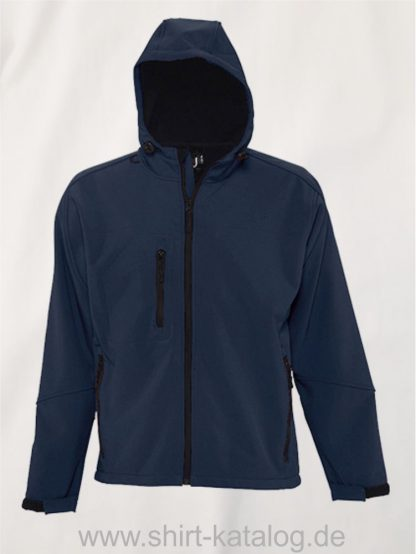 16938-Mens-Hooded-Softshell-Jacket-Replay-french-navy
