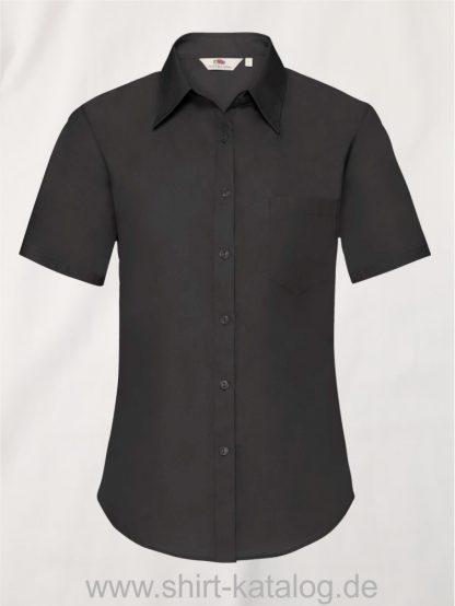26041-Fruit-of-the-Loom-Short-Sleeve-Poplin-Shirt-Ladies-Black