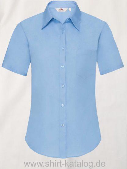 26041-Fruit-of-the-Loom-Short-Sleeve-Poplin-Shirt-Ladies-Mid-Blue