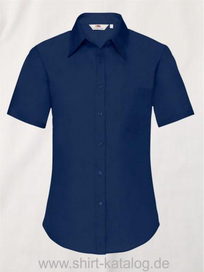 26041-Fruit-of-the-Loom-Short-Sleeve-Poplin-Shirt-Ladies-Navy