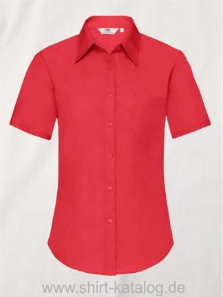26041-Fruit-of-the-Loom-Short-Sleeve-Poplin-Shirt-Ladies-Red