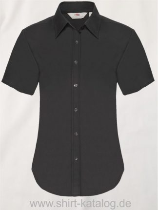 26045-Fruit-of-the-Loom-Short-Sleeve-Oxford-Shirt-Lady-Fit-Black
