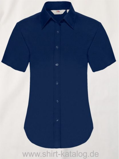 26045-Fruit-of-the-Loom-Short-Sleeve-Oxford-Shirt-Lady-Fit-Navy