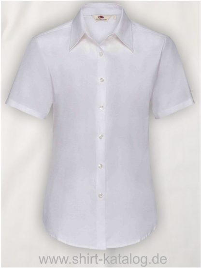26045-Fruit-of-the-Loom-Short-Sleeve-Oxford-Shirt-Lady-Fit-White