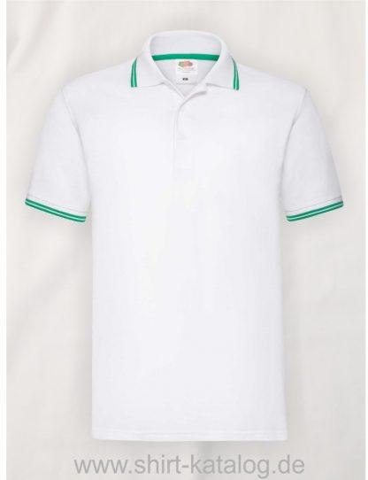 Tipped-Polo-White-Kelly-Green