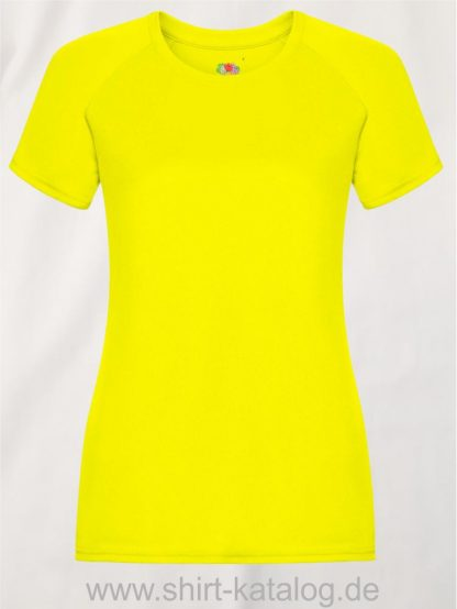 23277-Fruit-Of-The-Loom-Performance-T-Ladies-Bright-Yellow