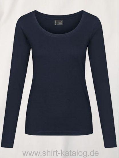 12332-EXCD-Women-T-Shirt LS-4095-Navy