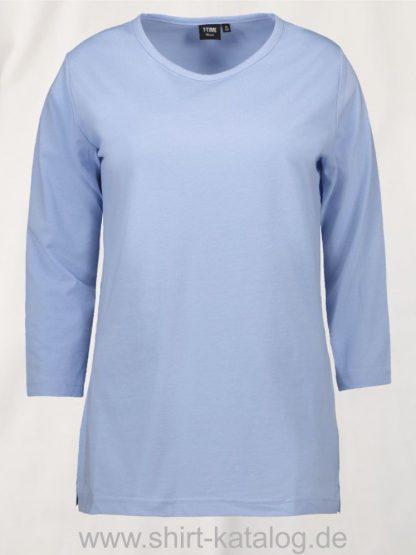 0313-PRO-Wear-Damen-T-Shirt-¾-Ärmel-hellblau-front