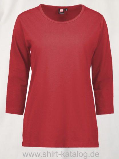 0313-PRO-Wear-Damen-T-Shirt-¾-Ärmel-rot-front
