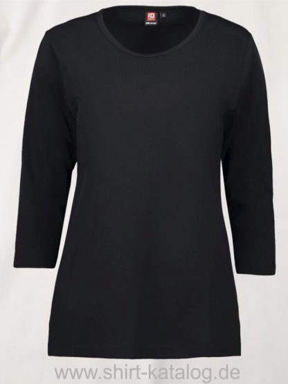 0313-PRO-Wear-Damen-T-Shirt-¾-Ärmel-schwarz-front