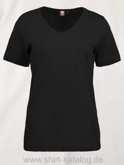 0506-Interlock-Damen-T-Shirt-V-Ausschnitt-schwarz-front