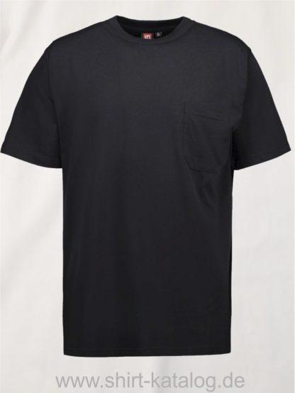 0550-T-TIME-Herren-T-Shirt-Brusttasche-schwarz-front