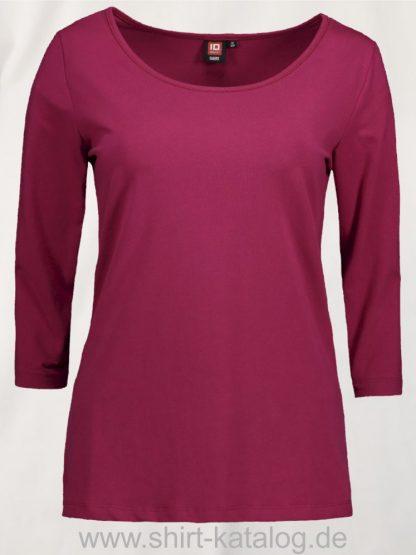 0591-Strech-Damen-T-Shirt-¾-Ärmel-cerise-front