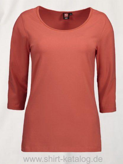 0591-Strech-Damen-T-Shirt-¾-Ärmel-coral-front