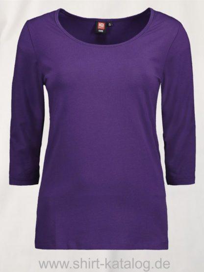 0591-Strech-Damen-T-Shirt-¾-Ärmel-lila-front