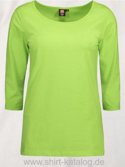 0591-Strech-Damen-T-Shirt-¾-Ärmel-lime-front