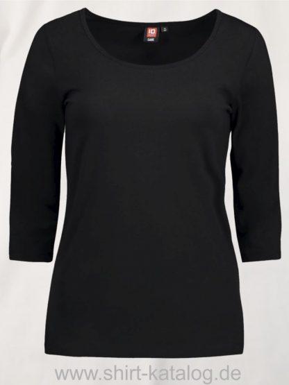 0591-Strech-Damen-T-Shirt-¾-Ärmel-schwarz-front