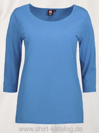 0591-Strech-Damen-T-Shirt-¾-Ärmel-türkis-front
