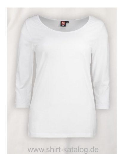 0591-Strech-Damen-T-Shirt-¾-Ärmel-weiß-front