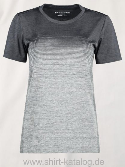 G11024-Woman-seamless-s-s-T-shirt-striped-anthracite-melange-front