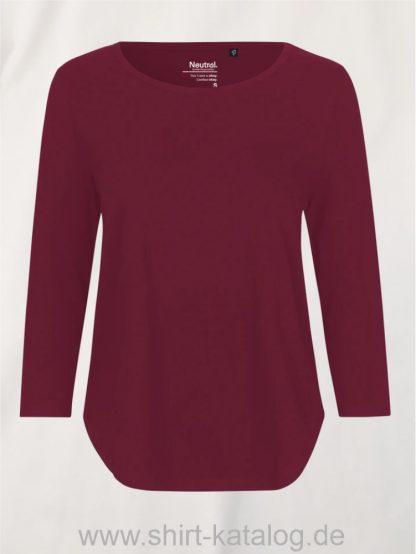11152-Neutral-Ladies-Three-Quarter-Sleeve T-Shirt-bordeaux