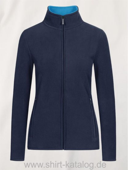 Womens-Double-Fleece-Jacket-navy-aqua