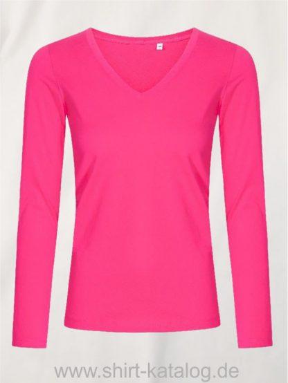 XO-V-Neck-T-LS-Women-bright-rose